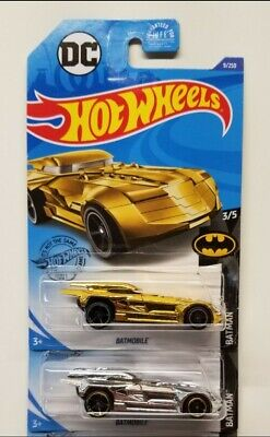 💥2020 HOT-WHEELS BATMAN SERIES BATMOBILE CHROME & GOLD (LOT OF 2)💥