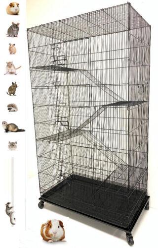 "55"" Extra Large 5-Levels Ferret Guinea Pig Sugar Glider Rat Mice Degu Cage BK"