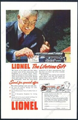 1948 Lionel electric toy train set Christmas color art vintage print ad