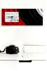 Hand Painted Metal Wall Clock Art Red Black Modern Abstract Clock  Jon Allen