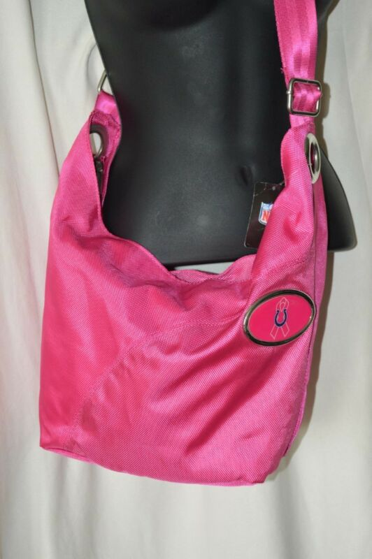 NFL Colts Breast Cancer Awareness Crossbody NEW Pink Zip Close Purse Adjustable