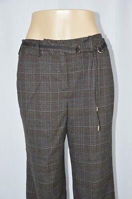 Larry Levine Womens 10 Dark Gray Black Blue Plaid Tie Belt Dress Cropped Pants Capri Plaid Tie