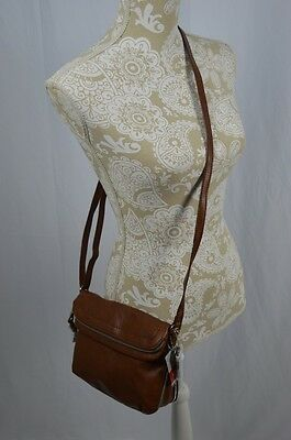 Relic Brown Leather Adjustable Crossbody New Expandable Bottom Cognac Small Med