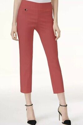 Alfani Size 8 Womens NEW Coral Solid Capris Cropped Pants Tummy Control (Coral Square 8)