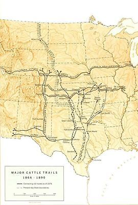 RAWHIDE TV SHOW *2X3 FRIDGE MAGNET* WESTERN CATTLE DRIVE TRAIL BOSS EASTWOOD MAP