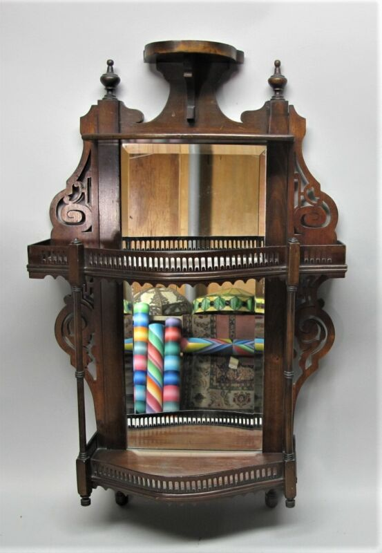 Gorgeous 19th C. ENGLISH MAHOGANY Carved Wood Hanging Etagere Shelf  c. 1900