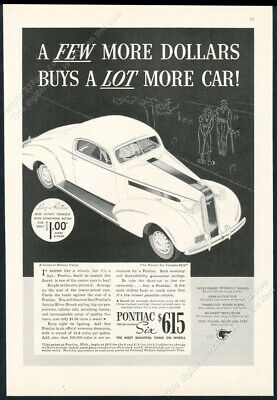 1936 Pontiac Master Six Coupe car illustrated vintage print ad