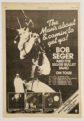 BOB SEGER 1977 vintage POSTER ADVERT UK CONCERT TOUR