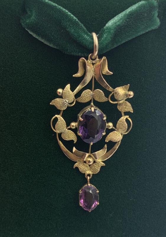 Art Nouveau Edwardian Antique 9ct Gold Pendant Deep Purple Amethyst