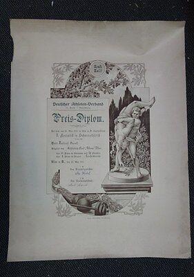 alte Urkunde Preis Diplom Deutscher Athleten Verein Ulm 1911