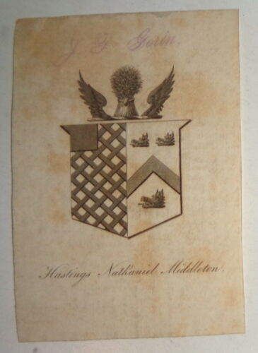 Hastings Nathaniel Middleton - Armorial Bookplate - circa 1800