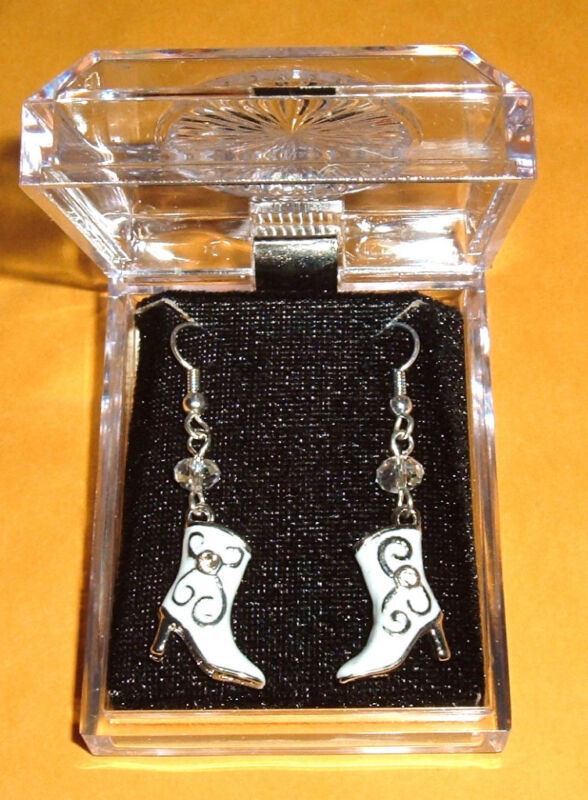 COWGIRL BOOT EARRINGS NIB French hook White Cowboy Horse Crystal