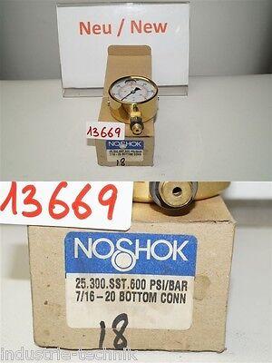 noshok 25.300.sst.600 psi PRESSURE GAUGE 2.5INCH 0-600PSI