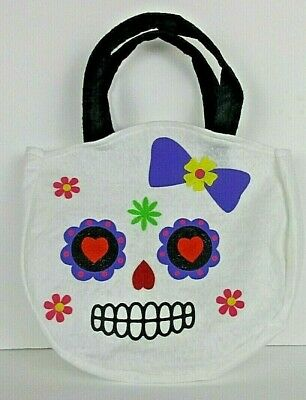 Day Of The Dead Sugar Skull Halloween Felt Bag