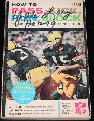 1965 HOW TO NFL FOOTBALL SOFTCOVER BOOK YALE LARY AUTOGRAPH PACKERS BART STARR Bart Starr Autographed Nfl Football