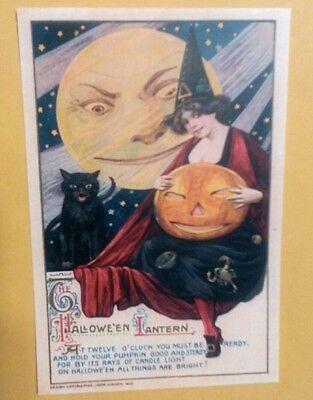John Winsch Halloween (1912 Halloween Lantern Pretty Witch, Mean Black Cat John Winsch Postcard)