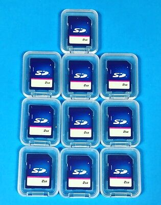 Lot Of 10 - 2GB SD Memory Card Standard SD Secure Digital Generic New W/Cases