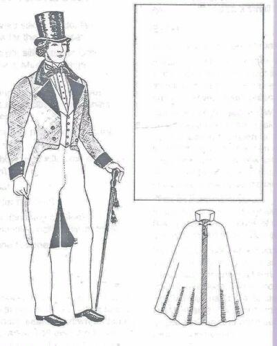 "22.5""ANTIQUE MAN DOLL@1850-1900 CUTAWAY SUIT/JACKET CLOAK UNDIES TOP HAT PATTERN"