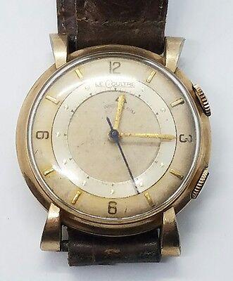 Vintage Antique LeCoultre 10k Gold Filled Mens Alarm Leather Wrist Watch