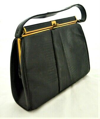 1930s Handbags and Purses Fashion  Vintage Lizard Purse Black with Brass Clasp and Feet ART DECO 1930's $25.00 AT vintagedancer.com