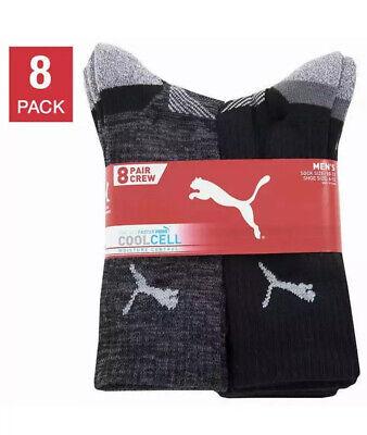 Puma Men's Crew Socks 8 pair pack Black color NEW for shoe size 6-12