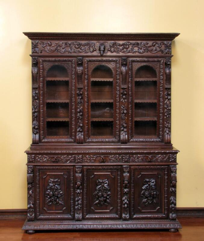 Large Antique French Carved Hunt Renaissance 6 Door Bookcase Cabinet