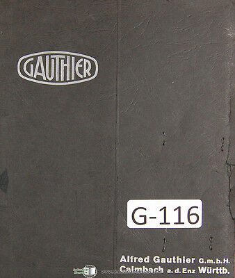 Gauthier Gm12 Swiss Gear Hobber Grinder Operations Install Schematics Manual