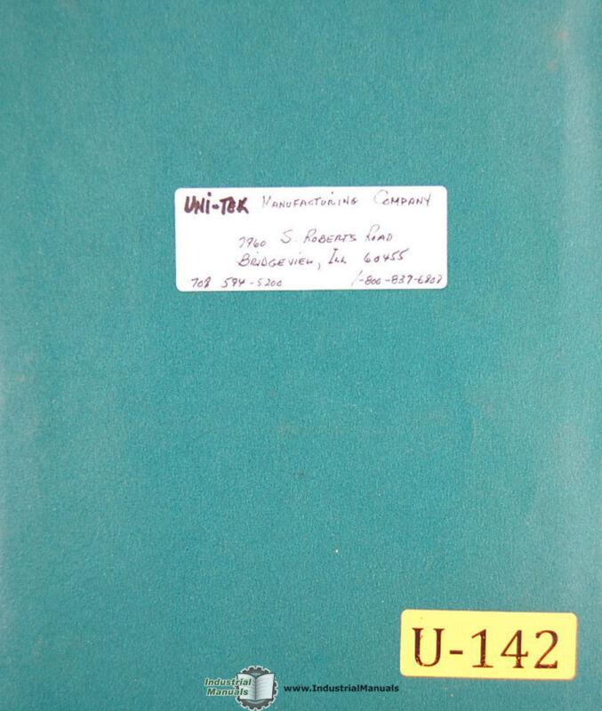 Uni Tek 300 400 500, Metal Disintegrator, Operation Parts Schematics Manual 1998