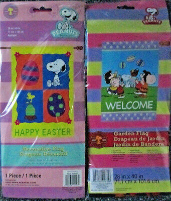 - Snoopy & The  Gang  Easter OR Easter Welcome Large Decorative Flag-----CHOOSE 1