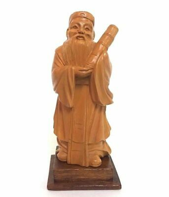 Vintage Wood Carving Of Chinese Scholar 4.75