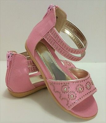 New Girls Pink Gladiator Sandals with Gold Studs  Zipper Youth Sizes 8-13 - Girls Gold Gladiator Sandals