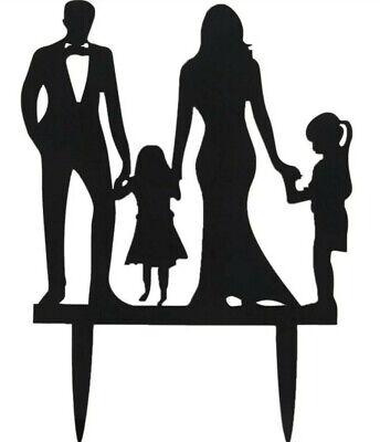 WEDDING CAKE TOPPER SILHOUETTE-2 DAUGHTERS/GIRLS-BLACK ACRYLIC BRIDE-FAMILY-GIRL