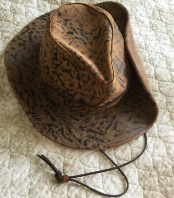 Vtg. HENSCHEL HAT CO. Brown/Black Brindle Leather Hat Leather Chin Strap Size XL