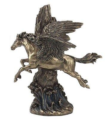 "13.5"" Pegasus Galloping Through Cliff Statue Fantasy Flying Horse Decor Magic"