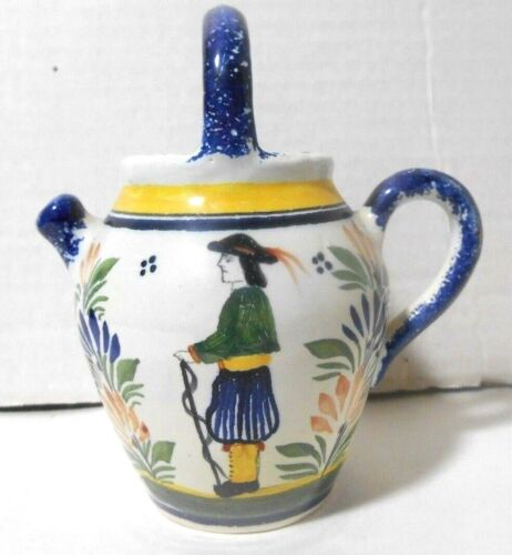 Vintage Henriot Quimper France Pottery Small Jug with Breton Man