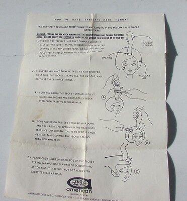 Tressy Doll Growing Hair Instruction Sheet Original VHTF 1963 American Character