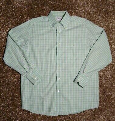 Lacoste Checkered Cotton Green Button Down Long Sleeve Shirt Men's L 42