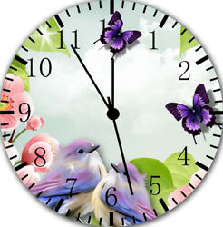 Flowers Birds Butterfly Frameless Borderless Wall Clock E16 Room Wall Decor