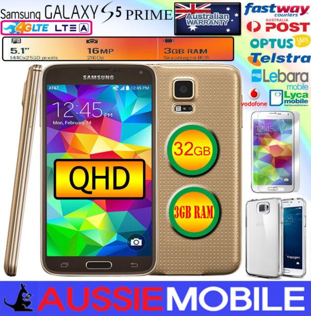 USED GOOD GALAXY S5 PRIME LTE-A 4G 32GB 3GB RAM QHD DISPLAY GOLD UNLOCKED