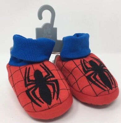Disney Baby Spider-Man Sock Top Slipper Booties 0-6 Mos Costume Dress Up Shoes
