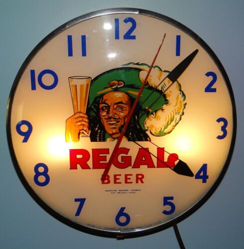 1930s 40s Regal Beer Light Telechron Clock Sign American Brewing Co Bubble Face