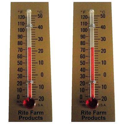 2 Pack Rite Farm Products Glass Temperature Thermometer Egg Incubators Chickens
