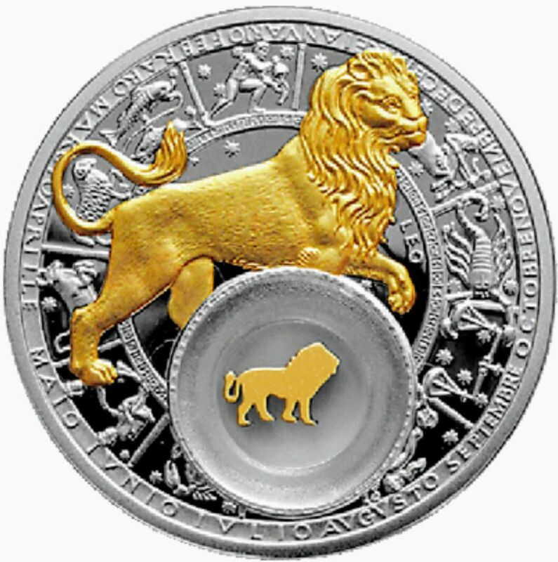 2013 Belarus Zodiac LEO Gold Gilded 1oz .925 Proof Silver Coin Encapsulated