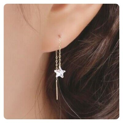 TPD 14K Solid Yellow Gold Twinkle Basic Long Threader Drop Dangle a Pair Earring