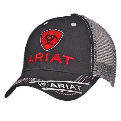 Ariat Mens Hat Baseball Cap Mesh Logo One Size Black Gray 1515866