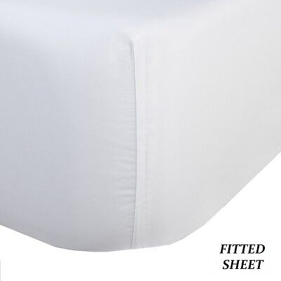 1 new white full size 54x80x9 fitted sheet t180 percale hotel linen cotton - Cotton Percale Bed Linen