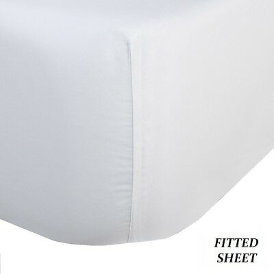 6 White King Fitted Sheet 78x80x9 300 Thread Count Parcal...