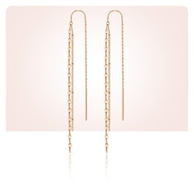 TPD Solid 14K Rose Gold 2Line Clover Long Drop Dangle Threader a Pair Earrings