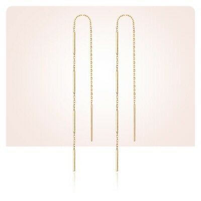 14K Solid Yellow Gold Stick Road Threader Long Drop Dangle a Pair Earrings TPD