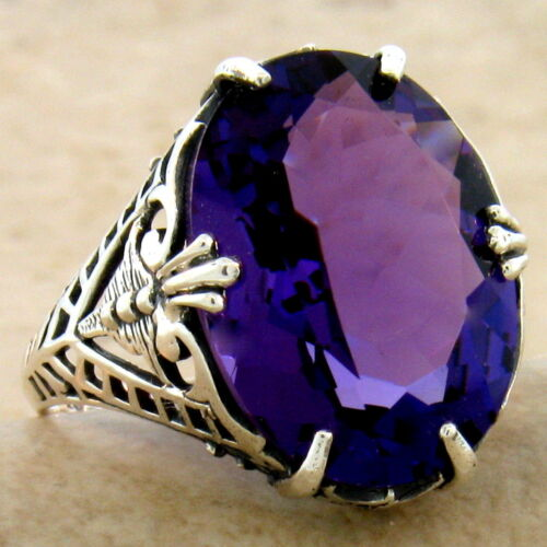 VICTORIAN 925 STERLING SILVER 7 CT LAB AMETHYST ANTIQUE STYLE RING SIZE 8,  #996
